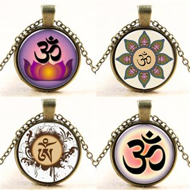 Flat Round with Yoga Glass Alloy Pendant Necklaces, 17.7