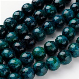 Dyed & Natural Yellow Turquoise Beads Strands, Imitation Chrysocolla, Round