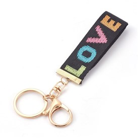 Nylon Keychain, with Alloy Lobster Claw Clasps, Iron Key Ring and Chain
