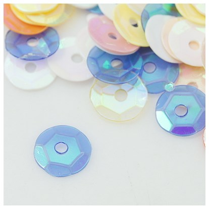 Plastic Loose Semi-cupped Sequins, Color Paillettes, Center Hole, AB Color, 6~7mm, Hole: 1mm-1