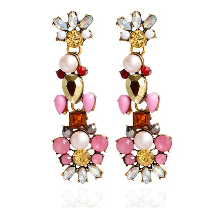 Alloy Stud Earrings, with Acrylic and Rhinestone, Flower, Antique Golden-1