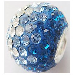 243_Capri Blue Austrian Crystal with Sterling Silver Single Core European Beads, Large Hole Beads, Rondelle, 243_Capri Blue, 14x12mm, Hole: 4.5mm