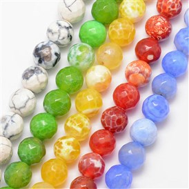 Natural Agate Bead Strands, Round, Faceted, Dyed & Heated, Grade A