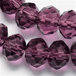 Purple Handmade Glass Beads, Faceted Rondelle, Purple, 6x4mm, Hole: 1mm; about 90~93pcs/strand