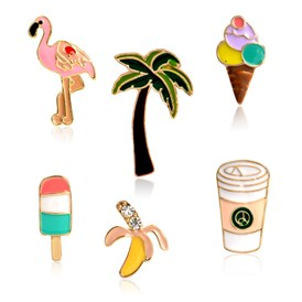 Creative Zinc Alloy Brooches, Enamel Lapel Pin, with Iron Butterfly Clutches, Flamingo & Coconut Tree & Ice Cream & Ice Candy & Banana & Coffee, Golden
