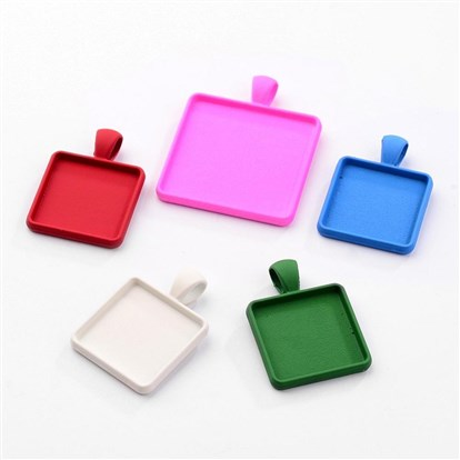 Spray Painted Alloy Pendant Cabochon Settings, Square, Cadmium Free & Nickel Free & Lead Free-1