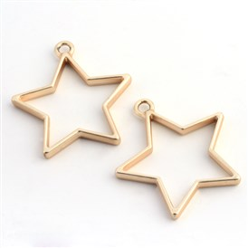 Matte Style Rack Plating Alloy Star Open Back Bezel Pendants, For DIY UV Resin, Epoxy Resin, Pressed Flower Jewelry, Lead Free & Nickel Free, 35x32.8x3.5mm, Hole: 3mm