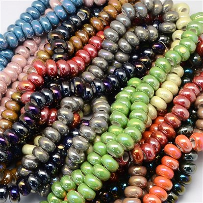 "Pearlized Plated Handmade Porcelain Bead Strands, Large Hole Beads, Rondelle, 12~13x6~7mm, Hole: 6mm; about 70pcs/strand; 17.7""-1"