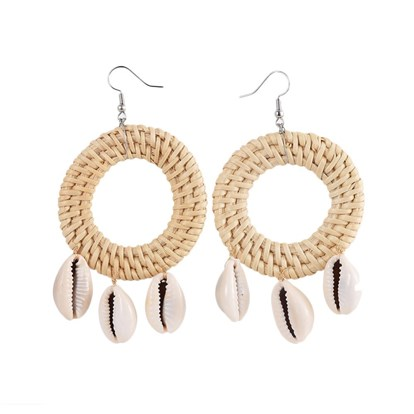 Handmade Reed Cane/Rattan Woven Dangle Earrings, with Cowrie Shell Beads, Brass Earring Hooks and Iron Finding, Flat Round, Platinum-1