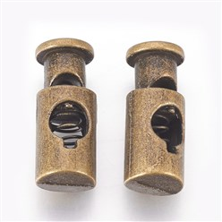 Antique Bronze Alloy Spring Cord Locks, Antique Bronze, 21x8mm, Hole: 4mm
