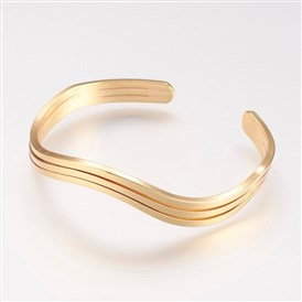Brass Cuff Bangle, Real Gold Plated