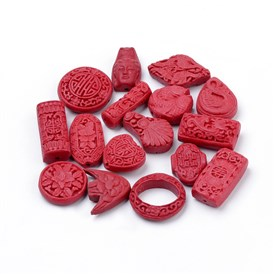 Cinnabar Beads, Carved Lacquerware, Mixed Shapes