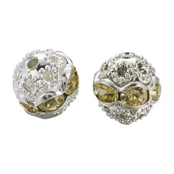 Jonquil Brass Rhinestone Beads, Grade A, Silver Metal Color, Round, Jonquil, 8mm, Hole: 1mm; 20pcs/box