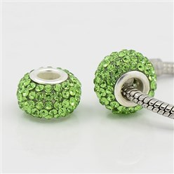 Peridot Grade A Rhinestone European Beads, Large Hole Beads, Resin, with Silver Color Brass Core, Rondelle, Peridot, 12x8mm, Hole: 4mm