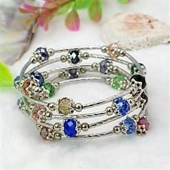 Colorful Fashion Wrap Bracelets, with Rondelle Glass Beads, Tibetan Style Bead Caps, Brass Tube Beads and Steel Memory Wire, Colorful, Inner Diameter: 55mm