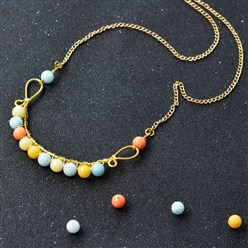 Mixed Color DIY Necklace Kits, Wire Wrapped Jade Beads Necklace, Mixed Color, 3.5x5.5x0.5mm