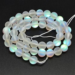 Clear Synthetical Moonstone Beads Strands, Frosted, Dyed, Round, Clear, 8mm, Hole: 1mm; about 47pcs/strand, 15.5""