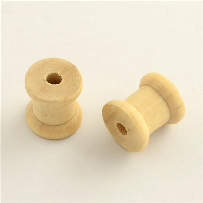 Wooden Empty Spools for Wire and Thread Cord, Thread Bobbins, 14x13mm, Hole: 4mm-1
