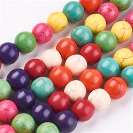 Synthetic Turquoise Beads Strands, Dyed, Round