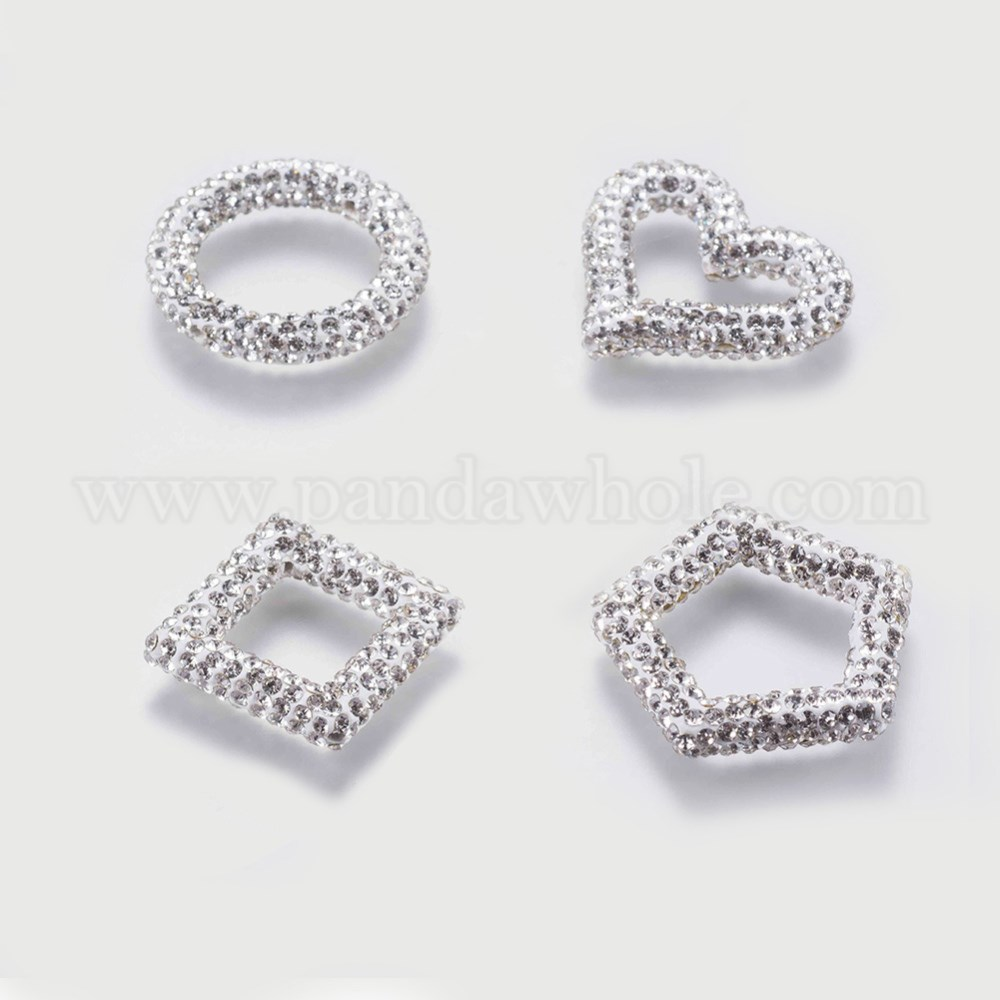 Wholesale Polymer Clay Grade A Rhinestone Bead Frames, Mixed Shapes ...