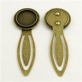 20mm Tray Bookmark Cabochon Settings, Iron with Alloy Flat Round Tray, Lead Free & Cadmium Free, 78x28x3mm