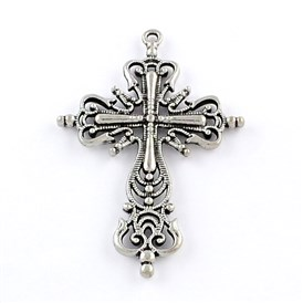 Tibetan Style Zinc Alloy Big Gothic Pendants, Lead Free & Cadmium Free, Cross, 64x43x4mm, Hole: 2mm; about 117pcs/1000g
