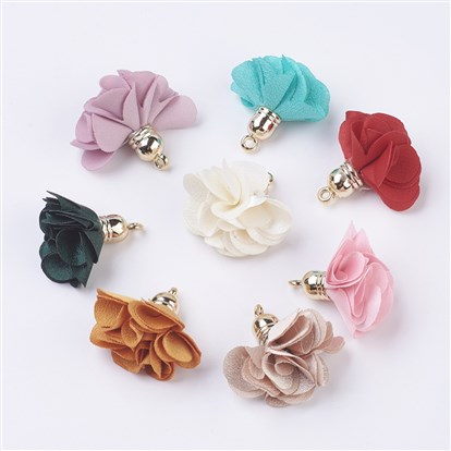 Cloth Flower Pendants Decoration, with Plastic Findings-1