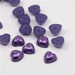 Purple Acrylic Imitation Pearl Cabochons, Dyed, Heart, Purple, 10.5x10.5x5mm; about 1500pcs/bag