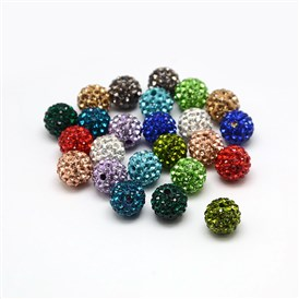 Polymer Clay Rhinestone Beads, Pave Disco Ball Beads, Grade A, Round