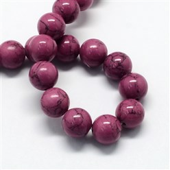 Purple Dyed Synthetic Turquoise Gemstone Bead Strands, Round, Purple, 6mm, Hole: 1mm; about 66pcs/strand, 15.7""