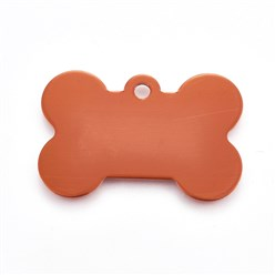 Orange Pet Aluminium Pendants, Blank Stamping Tag, Bone, Orange, 25x38x1mm, Hole: 2.5mm