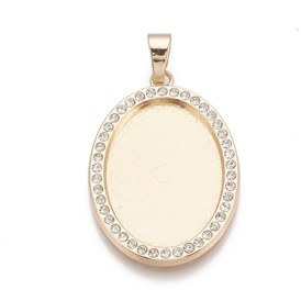 Alloy Pendant Cabochon Settings, with Rhinestone, Oval