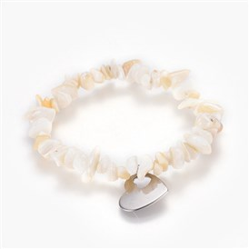 Natural Spiral Shell Charm Stretch Bracelets, with 304 Stainless Steel Pendants, Burlap Packing Pouches Drawstring Bags