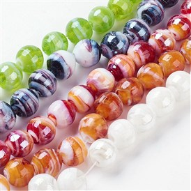 Handmade Lampwork Beads, Pearlized, Round, 12mm, Hole: 2mm