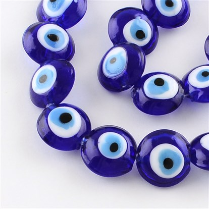 "Flat Round Evil Eye Lampwork Bead Strands, 15~16x8~9mm, Hole: 2mm; about 24pcs/strand, 13.7""-1"