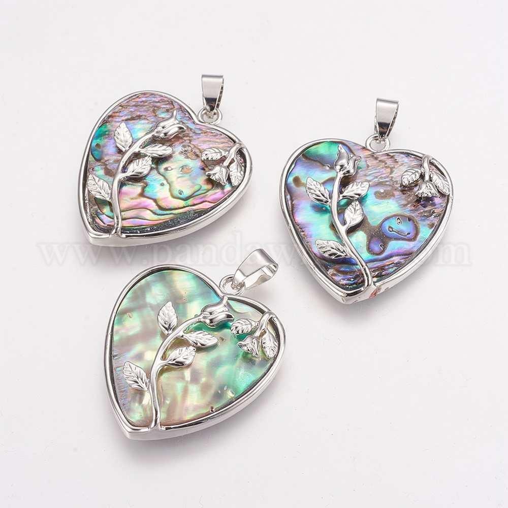 Wholesale natural abalonepaua shell pendants with brass findings natural abalonepaua shell pendants with brass findings heart with rose platinum aloadofball Image collections
