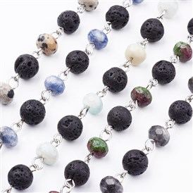 Handmade Round Natural Gemstone Beads Chains for Necklaces Bracelets Making, Unwelded, with Platinum Iron Eye Pin