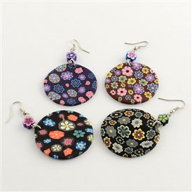 Polymer Clay Flat Round with Flower Pattern Dangle Earrings, with Iron Earring Hooks, Platinum, 70x39x2.5mm