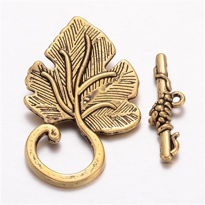 Tibetan Style Leaf Toggle Clasps, Lead Free and Cadmium Free, Toggle: 22mm wide, 37.5mm long, Tbars: 25mm, hole: 1.5mm-1