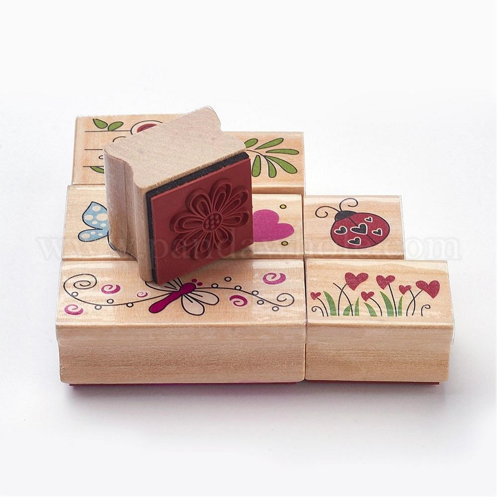 958ed58932 Floral Designs Wooden Stamp Sets, Rectangle & Square