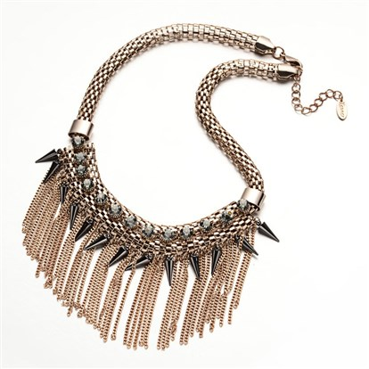 "Golden Tone Alloy Tassel Chain Bib Necklaces, Fringe Chain Necklaces, with Acrylic Cone Charms, Rhinestones and Lantern Chain, 18.1""-1"