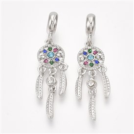 Alloy European Dangle Beads, with Rhinestone, Large Hole Pendants, Woven Net/Web with Feather, Platinum