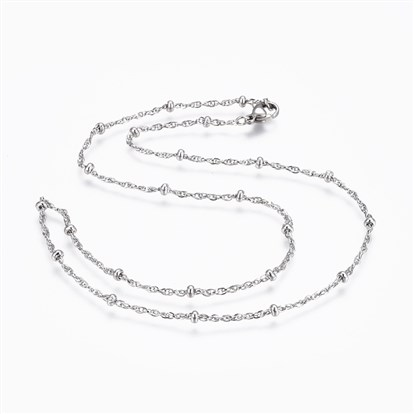 304 Stainless Steel Rope Chain Necklaces, with 304 Stainless Steel Beads and 304 Stainless Steel Clasps