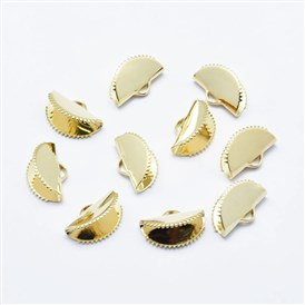 Electroplated Brass Ribbon End, Long-Lasting Plated, Nickel Free, Real 18K Gold Plated, Fan Shaped