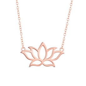 SHEGRACE&reg 925 Sterling Silver Pendant Necklace, with Lotus Flower Pendant