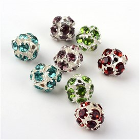 Brass Rhinestone Beads, Round, 10x11x11mm, Hole: 1.5mm
