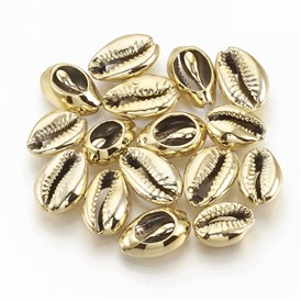 Electroplated Sea Shell Beads, Undrilled/No Hole Beads, Cowrie Shells