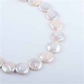Flat Round Natural Keshi Pearl Beads Strands, Cultured Freshwater Pearl, 17~19x3~8mm, Hole: 0.8mm; about 20pcs/strand, 14.9""