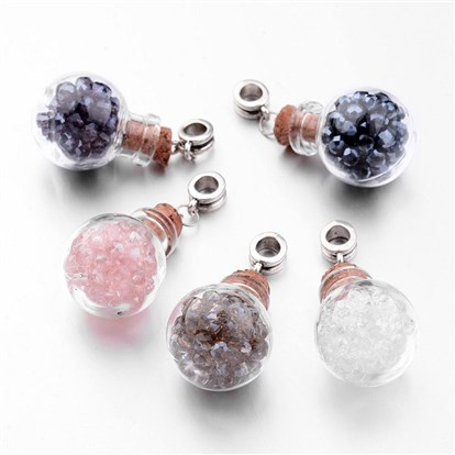 Glass Wishing Bottle European Dangle Beads, with Glass Beads and Alloy Findings, Round, Antique Silver-1