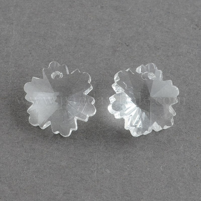 100 Pcs Silver Plated Faceted Snowflake Electroplate Glass Pendants Mixed 14x7mm